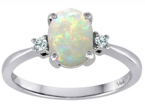 Tommaso Design Genuine Oval Opal and Diamond 3 Stone Engagement Ring