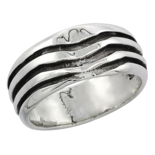 Sterling Silver 3-Stripe Wedding Band Ring 3/8 inch (9 mm) wide, size 5