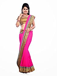 Offo Deals Womens Chiffon Saree ( TM-42_Pink_Freesize)