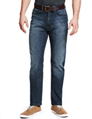 Tapered Leg Denim Jeans with Belt