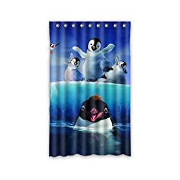 Custom Penguin Window Curtains/Drape/Panels/Treatment Polyester Fabric Bedroom Decor 52\