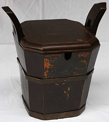 M2Bb03X-Vintage Asian Tea Caddy Bucket, Vintage, China, Wood, Antique Asian Decor: Wooden Tea Caddy