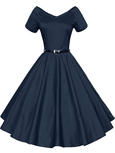 LUOUSE 40s 50s 60s Vintage V-neck Swing Rockabilly Pinup Ball Gown Party Dress,Small,Navy