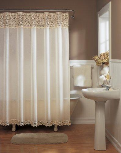 Macrame Lace Antique Beige Fabric Shower Curtain 72 W X