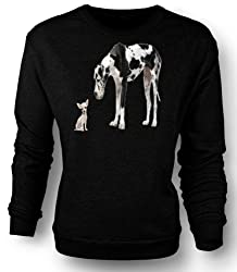 Sweatshirt Great Dane And Chihuahua Cut Pet Dogs by Black Sheep Clothing