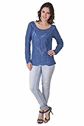 NOD Angela Persian Blue Embroidered Top, Small