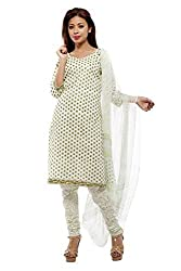 Pinkshink Womens Cotton Unstitched Dress Material (Psg08 _White And Green)