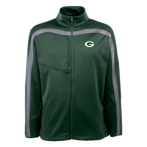NFL Men's Green Bay Packers Full Zip Viper Fleece Jacket (Dark Pine/Gunmetal, Large) at Amazon.com