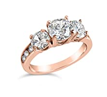 buy 1Ct Three Stone Cubic Zirconia Rings, Three Stone Simulated Diamond Cz Ring, Rose Gold Tone And Silver Ring, Three Stone Engagement Ring (Gold Size 8)