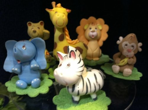 Jungle Safari Animals Party Favors Cold Porcelain Baby Shower Birthday Cake Top