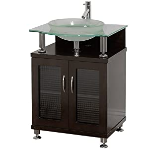 Charlton 24 inch bathroom vanity with doors espresso w clear or frosted glass counter for Bathroom vanity with frosted glass doors
