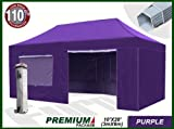 Eurmax Premium 6 x 3m Pop Up Gazebo Heavy Duty Marquee Folding Tent with Four Side Panels And Wheeled Carry Bag (Purple)