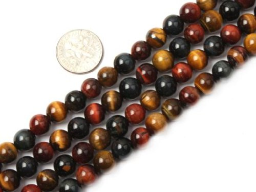 Sweet & Happy Girl'S Store 8mm Round Multi-Color Tiger Eye Beads Strand 15