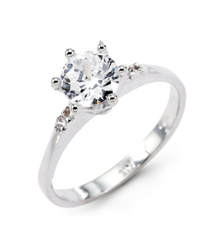 14k Solid White Gold Thin Band Round CZ Engagement Ring