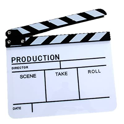 Clapper Board Slate For TV Film Movie - White & Black / High Quality Black and White Acrylic Film Clapper Movie Clapperboard with Stick--with Adjustable BoltsP
