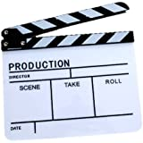 Clapper Board Slate For TV Film Movie - White & Black / High Quality Black and White Acrylic Film Clapper Movie Clapperboard with Stick--with Adjustable Bolts