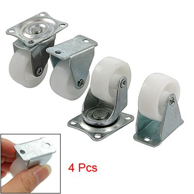 4 Pcs 1.2″ White Plastic Tire Silver Tone Fixed Top Plate Castor + Swivel Caster