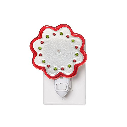 Festive Holiday Glass Night Light Plastic With Darkness Sensor Adapter