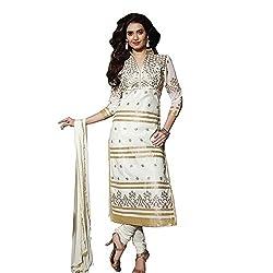 KMOZI White Golden Churidar Dress Material