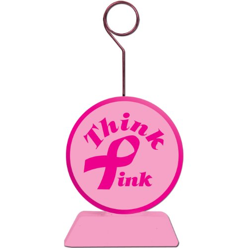 Pink Ribbon Photo/Balloon Holder Party Accessory (1 count)