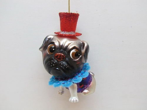 December Diamonds Blown Glass Ornament – Pug