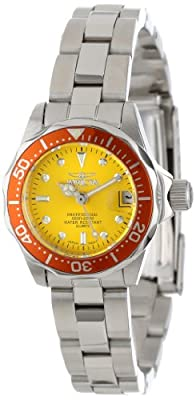 Invicta Women's 14097 Pro Diver Yellow Dial Stainless Steel Watch