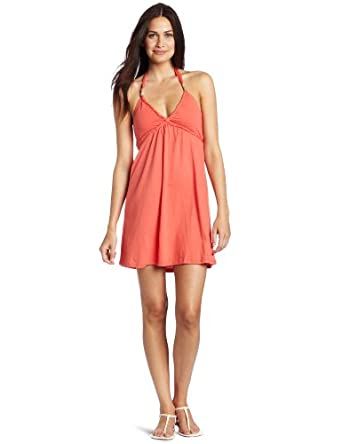 Roxy Juniors Pass Her By Halter Dress, Coral, X-Small