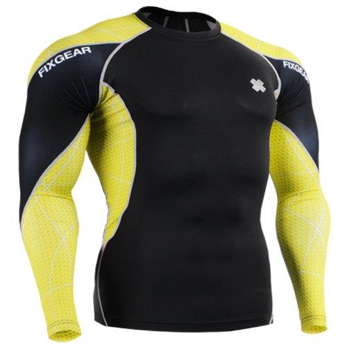 Fixgear Mens Womens Running Yellow Printing Compression Shirt Long Sleeve S ~ 2XL