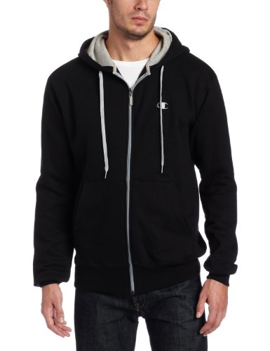 Champion Men's Champion Eco Fleece Full Zip Hoodie, Black, Large