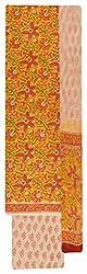 Sanskriti Women's Cotton Unstitched Dress Material (Yellow and Orange)