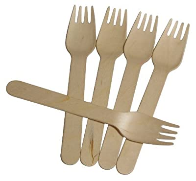 Wooden Forks - Disposable Wood Cutlery Heavy Weight