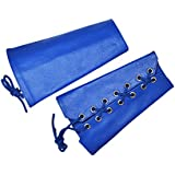 Blue Double Leather Laces Wristband Arm Band Hand Gauntlet Cuff Black New Pair
