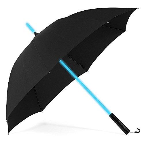 PLEMO 長傘 大きな傘 紳士傘 耐風傘 光る傘 フラッシュライト付 7色LED親骨 ブラック UA_25