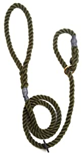 Outhwaite Rope Gun Dog Slip Lead, 12 mm x 60-inch, Olive
