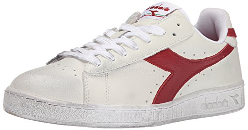 Diadora Men's Game L Low Waxed Court Shoe, White/Red Pepper, 9 M US