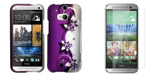 Htc One M8 - Purple And Silver Vines Design Case + Atom Led Keychain Light + Screen Protector