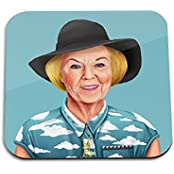 Queen Beatrix Wooden Coaster - Pop Art Modern Contemporary Decorative Art Coaster, Hipstory Project By Amit Shimoni...