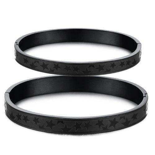 bigsoho Fashion Black Titanium Stainless Steel Twinkle Star Men/Women Bangle Couple Bracelets