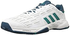 adidas Performance Men's Barricade Court 2 Tennis Shoe,White/Equipment Green/Mineral Blue,13 M US