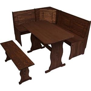 Essentialz Puerto Rico 3 Corner Bench Nook Dark Pine Table Bench Set Wi