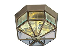 Antique Brass Finish Flush Ceiling Light, 8235AB from Searchlight