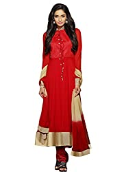 Dlines Red Coloured Pure Chiffon Salwar Suit