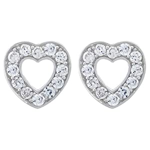 Platinum Plated Sterling Silver White Cubic Zirconia Heart-Shaped Earrings