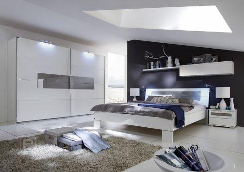 Schlafzimmer 6tlg »ADVANCE« alpinweiß mit sahara-grauem Glas bestellen
