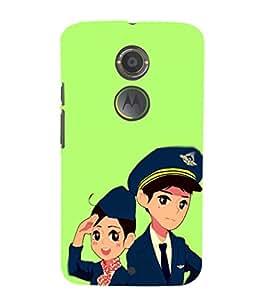 EPICCASE Pilot and air hostess Mobile Back Case Cover For Moto X 2nd Gen (Designer Case)