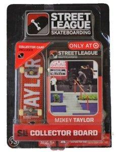 Street League Skateboarding Fingerboard - Mikey Taylor - White Letters Over Orange Block Pattern