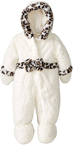 Rothschild Baby Girl Faux Fur Leopard Trim Footed Snowsuit With Hand Foldovers - Vanilla (Size 6/9M) front-364439