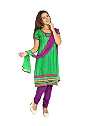 Parchayee Women's Green::Pink Printed Cotton Dress Material