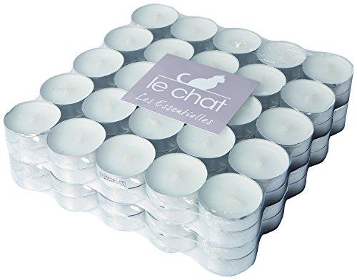 le-chat-1201104-pack-de-100-bougies-chauffe-plats-blancs