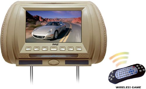 Pyle PL70HDT Adjustable Hideaway Headrest 7-Inch Video Monitor with DVD/USB/SD, Wireless IR/FM Transmitter/Video Game System (Tan)